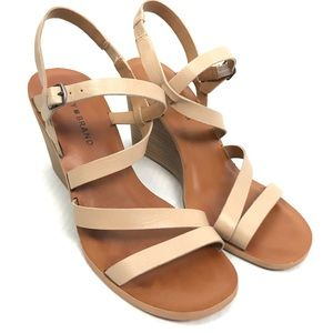 Lucky Brand tan strap wedges